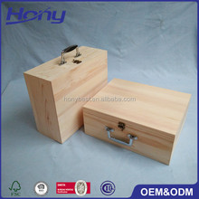 Plain Large Size Natural Pine Wine Gift Box Hinges Wooden Packaging Storage Box with Custom Iron Handle