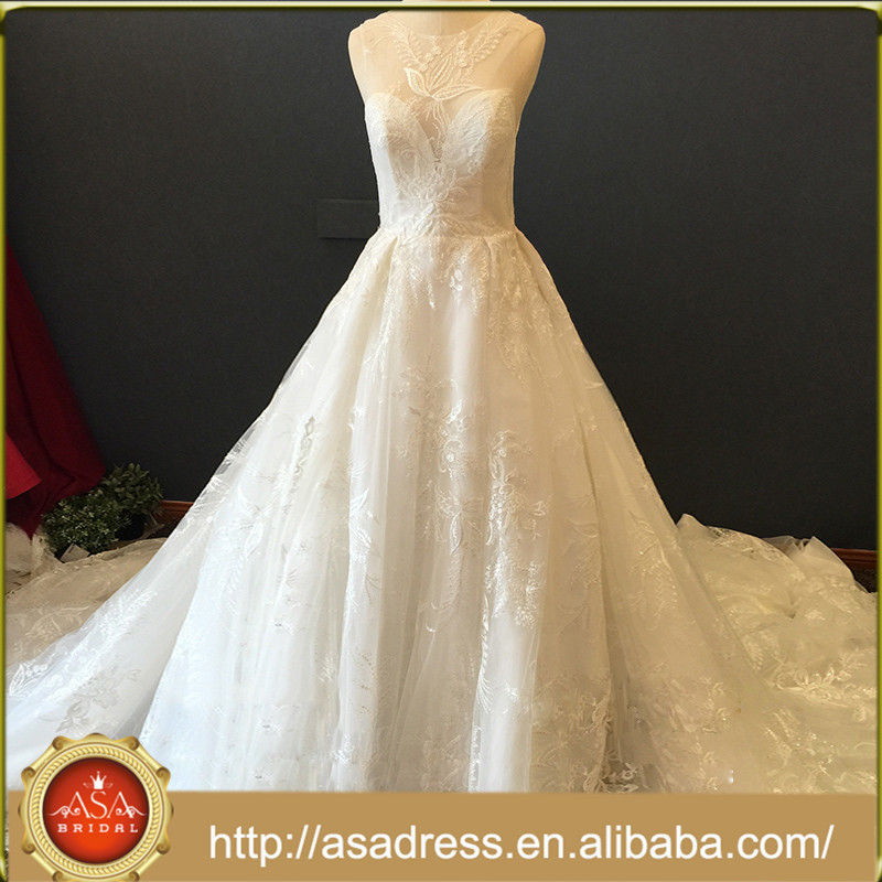 Classic Sweetheart Sleeveless Full Appliqued Wedding Dresses Beautiful Cathedral Train Bridal Gown ASA011