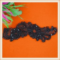 Wholesale black embroidery beaded embellishment beaded appliques trimming for collar/waist decoration