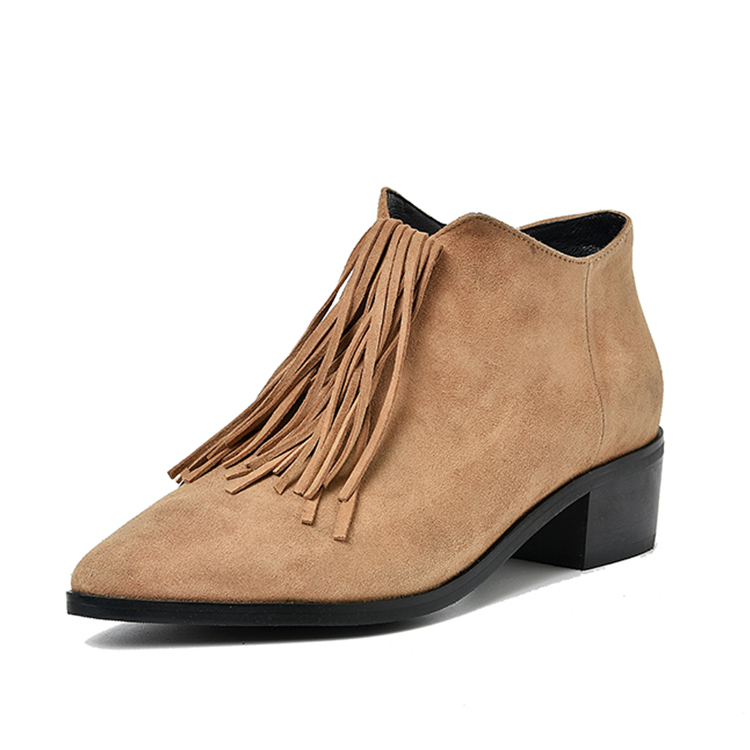 latest design tassel chunky low heel pointed toe women leather work boots