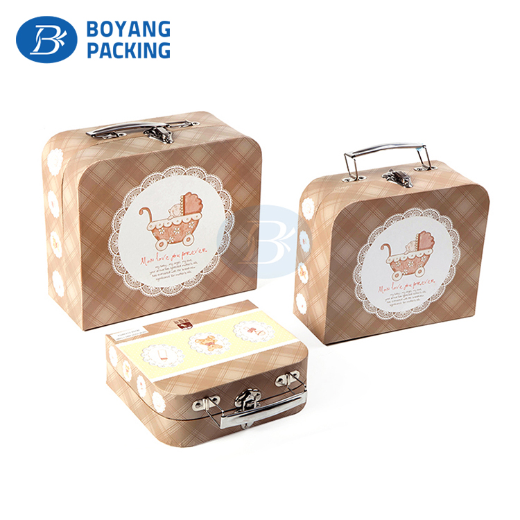 Printed cute Mini Handbag baby toy Packaging suitcase gift Box With Handle