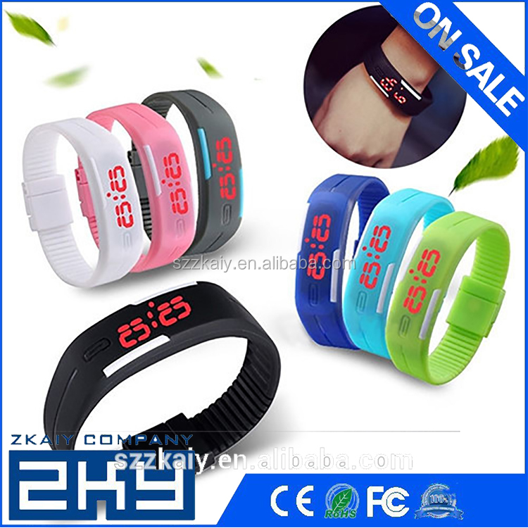 Men's Women's Sport Silicone Red LED Sports Bracelet Touch Watch Digital Wrist Watch