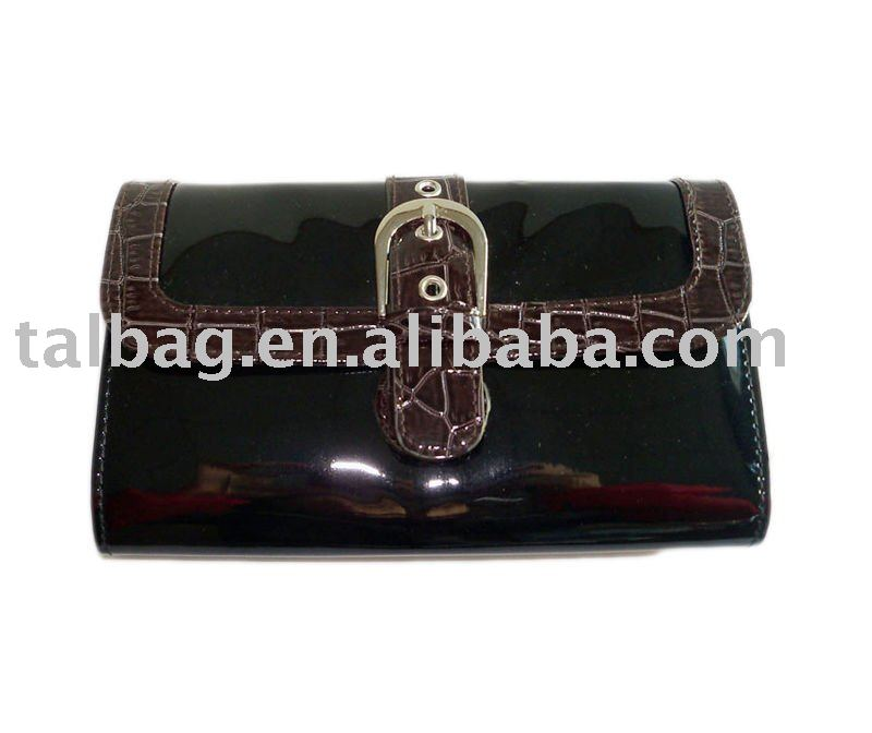 patent pvc leather clutch bag, wallet