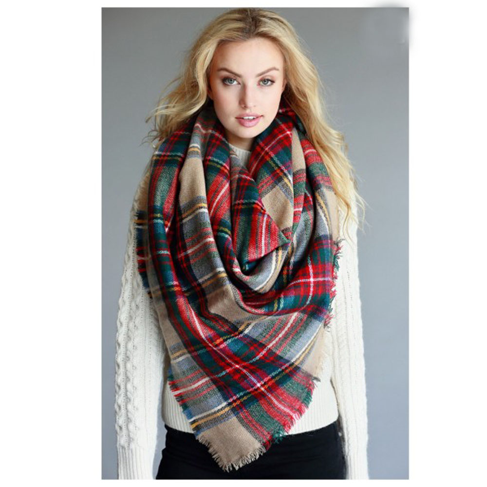 Fall Winter Za Design Over 200 colors Oversize Women Winter Acrylic Wrap Shawls Square Plaid Blanket <strong>Scarf</strong>