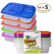 Bento Lunch Box Container Food Storage 3-compartment Eco Friendly for Kids, Reusable Lunchbox Made with High Quality Plastic Mic