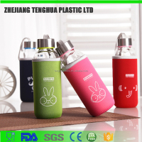 2645 Tenghuang 280ml shaker glass bottle with fabric cover and aluminic lid