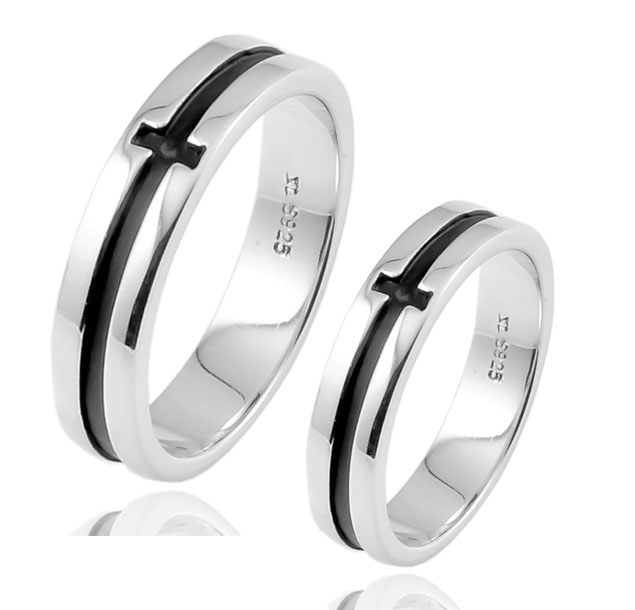 Buckle vintage cross s925 pure silver ring lovers ring male female pure silver jewelry