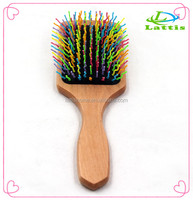 wooden cushion hair natural big board massage paddle brush rainbow hair brush