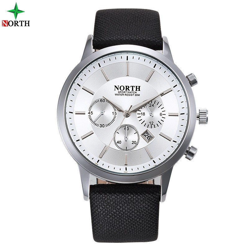 North Brand Men Watches Business Genuine Leather Strap Date Analog Clock 30M Waterproof Sports Military Luxury Watch 2017 <strong>Hot</strong>