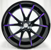 Gloss Black Lip ,Gloss Black And Purple Center Forged Alloy Wheel