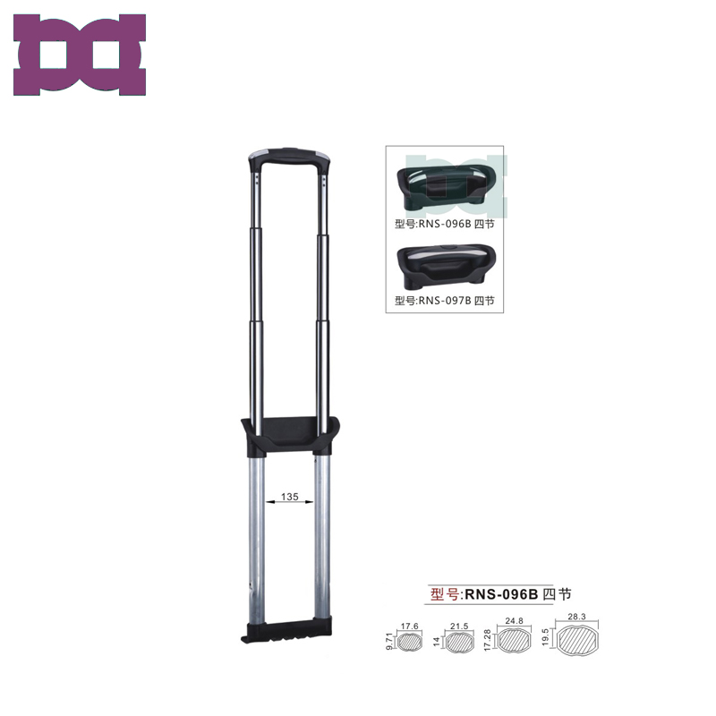 Custom 28 inch aluminum luggage cart parts trolley handle