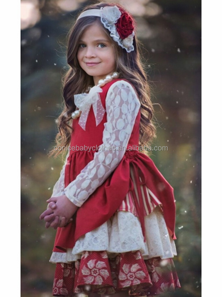 wholesale cheap baby girl long sleeve lace ruffle dress for wholesale