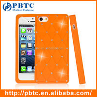 Set Screen Protector And Case For Iphone 5 , Orange Silicone Mobile Phone Diamond Cover
