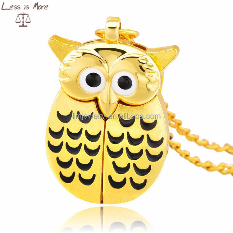 2015 best new design Wholesale Vintage Alloy Hollow Cage, owl Style Pocket Watch necklace