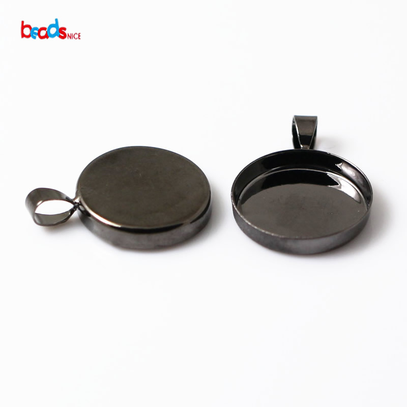 Beadsnice ID 10380 pendant bezel blanks Pendant Settings Brass fits 20mm round depth 3.2mm sold by PC blank jewely