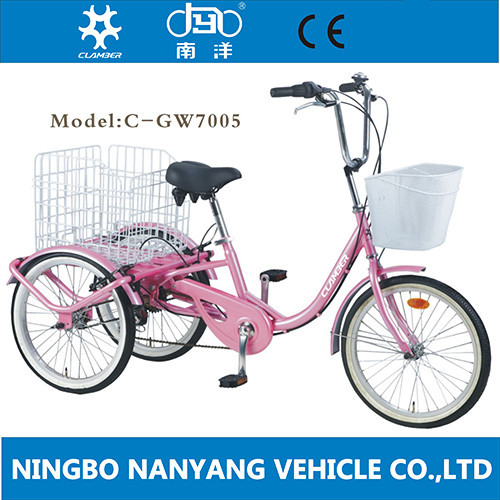 New Design 20 Inch Steel Fork Lady Handicapped Tricycle For Shopping