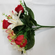 Best Brand 10 heads red cream silk artificial fabric flower arrangements