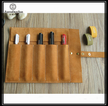 nubuck genuine leather many pen slots pen case for students