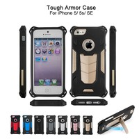 Tough Iron Man Armor Case, Kickstand Shockproof TPU PC 2 in 1 Hybrid Armor Phone Case For iPhone 5 5s SE