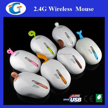 Cute Computer Optical Wireless Mouse With Rubber Pet Tail USB Receiver