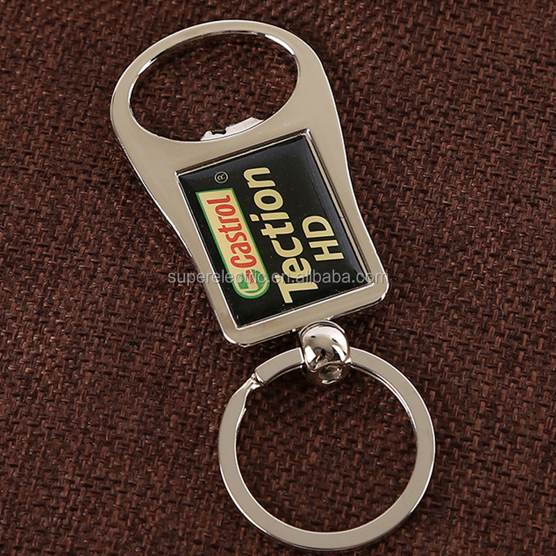Wholesale Cheap stainless steel beer bottle opener keychain with logo printed