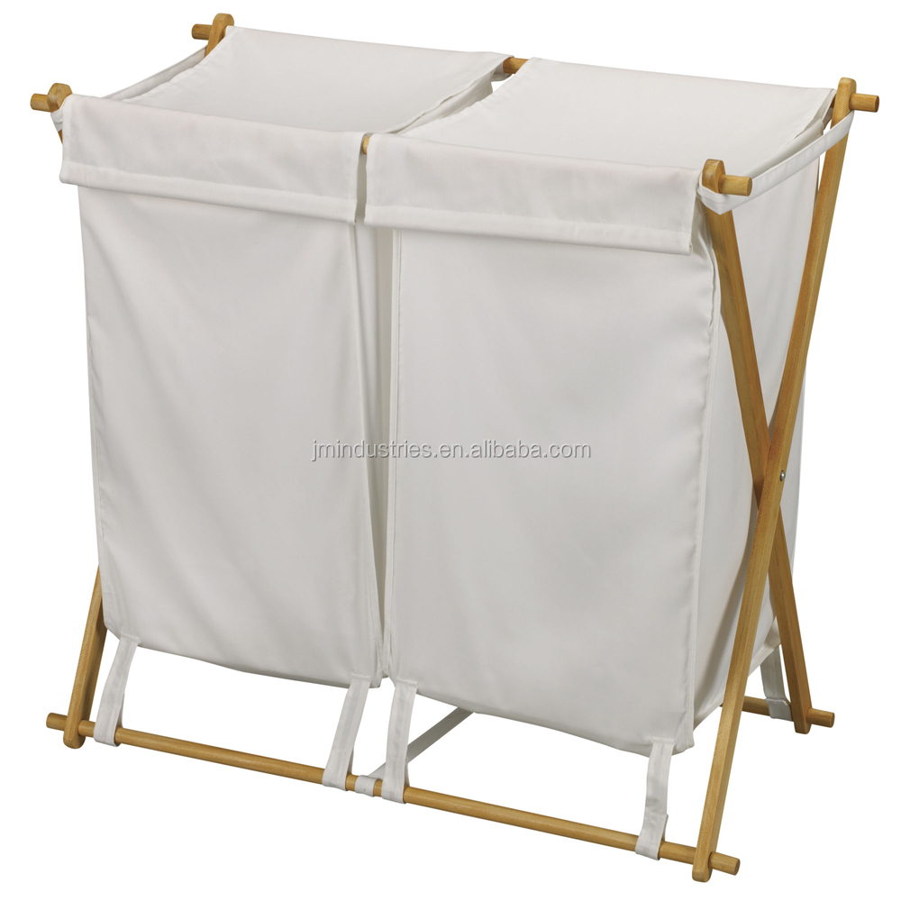 wholesale bamboo laundry basket stand