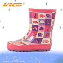 2015 cute china elephant kid rubber sole leather rain boots