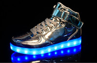 Silver and Gold color wholesale custom rubber and PU material big sizes cheap LED high top shoes