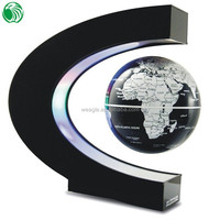 High end gift C shape base 3 inch floating globe acrylic golf ball display case