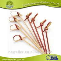 2014 Eco-friendly stretch loop with pre-tied bow promotional food ball bamboo picks