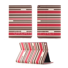 Ultra slim Table PC stripe leather PU case with card slots sleeping smart cover for IPAD mini4