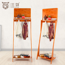 High Quality Bamboo Material Clothes Display Rack Shelf Coat Rack
