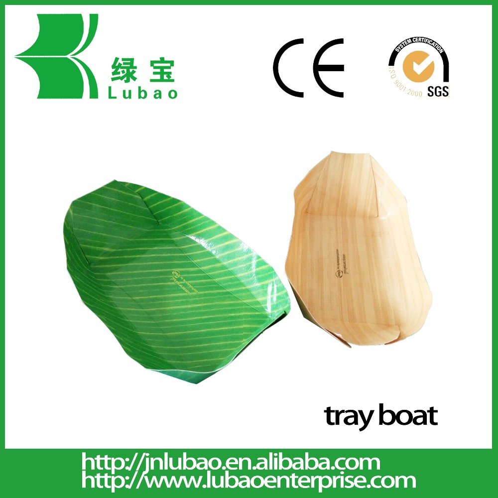 Custom printed paper tray boat for fast food take away food container