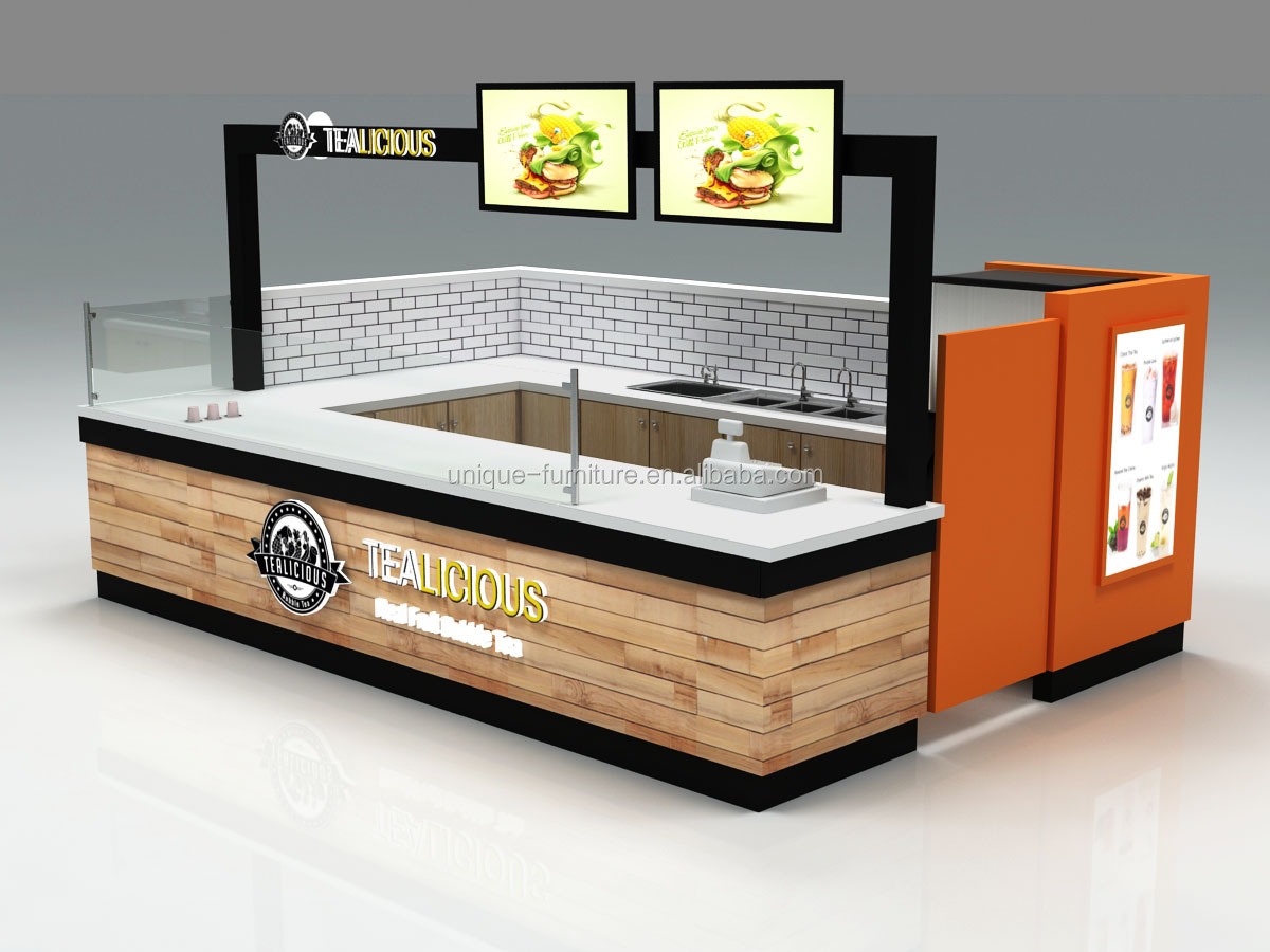 Indoor Food Kiosk Design Mall Wooden Burger Kiosk Shop For Waffle Crepe, Sushi Kiosque Fast Food Bread & Donuts Kiosk For Sale