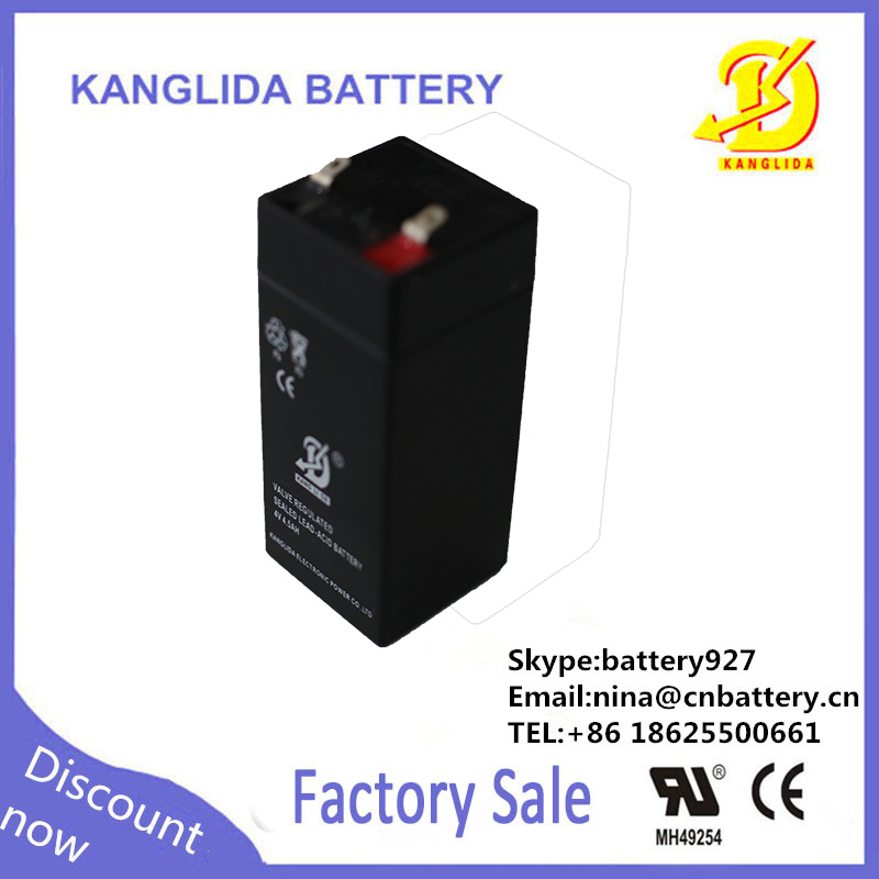 Long way Rechargeable Sealed Lead Acid Battery 4v 4.5ah LED light battery