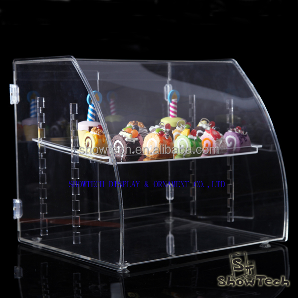 3 tier acrylic bread shop cake stand, display stand for cupcake, square clear acrylic cake stand ST-CRVBT1814-11