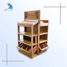 Hot selling useful shopping mall wine wooden display wood prints wood display racks