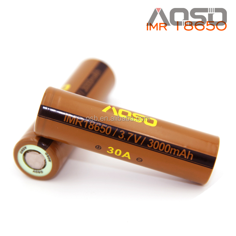 Lithium ion 18650 battery 3000mah 30a high drain dewalt tools power battery 3.7v cylinder rechargeable battery from Aoso