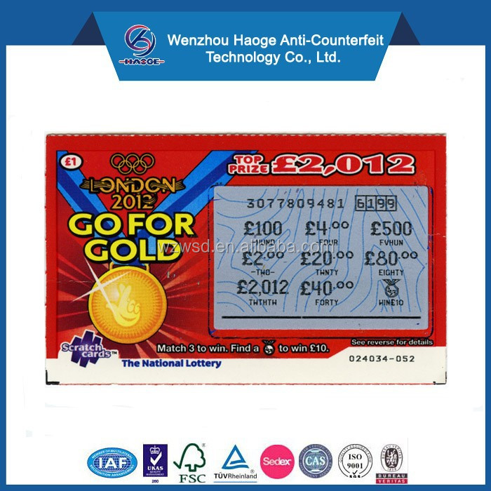 Lottery scratch card printing & scratch pin card lottery ticket