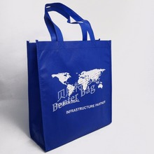 glossy film covering blue bag laminated non woven bag advertising shopper bag with handle