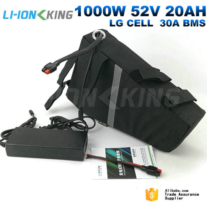 Free Shipping EU USA No Tax Nylon Bag Plus Charger 30A BMS 1000W Triangle 52V 20Ah Ebike Battery Pack