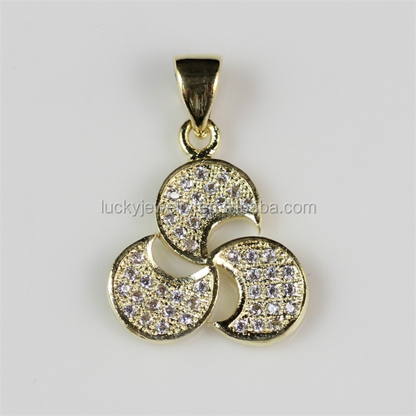 Online Shopping Gold Jewelry 18K Pendant Shiny CZ Stones Brass Pendant Wholesale Lot