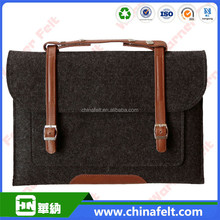 hot sale 13.3inch felt laptop bag with high quality leather