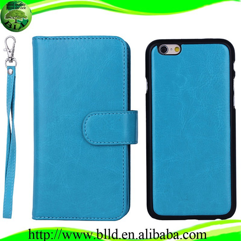Wholesale price new design leather wallet for Iphone 6 flip case cover