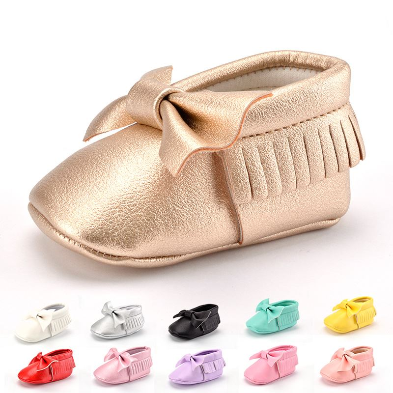 Microfiber Leather Tassel Bow Cheap Soft Baby Shoes Newborn Baby First Walker Shoes
