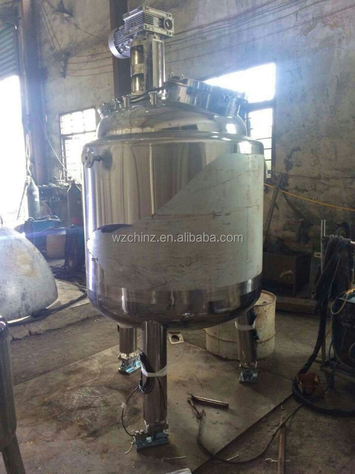 1000L stainless steel steam jacketed mixing tank with agitator