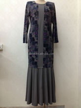 stitching patchwork spandex baju kurung one piece without lining