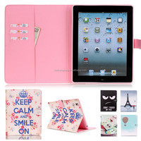 Lovely Cartoon Printing Leather Case Magnetic Flip Stand Case for iPad 3