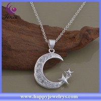 Elegant moon star pendant design 925 silver plated cheap women necklace (AN1381)
