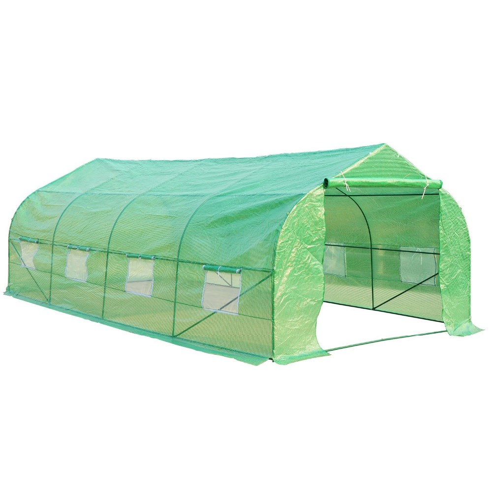 Sold Steel Portable Greenhouse Tunnel - Dark Green